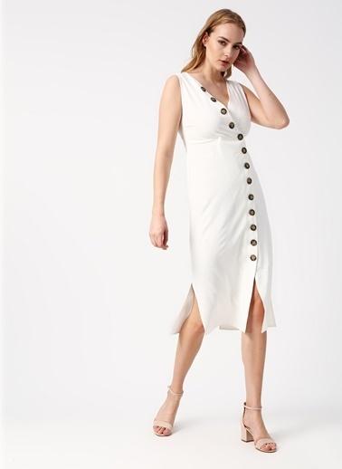 Beymen Studio Beymen Studio V Yaka Beyaz Elbise Ekru